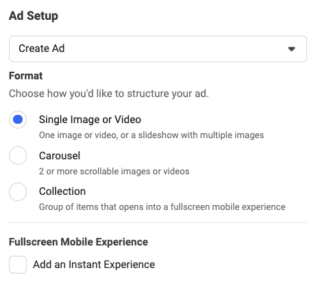 facebook ad set up instructions - example