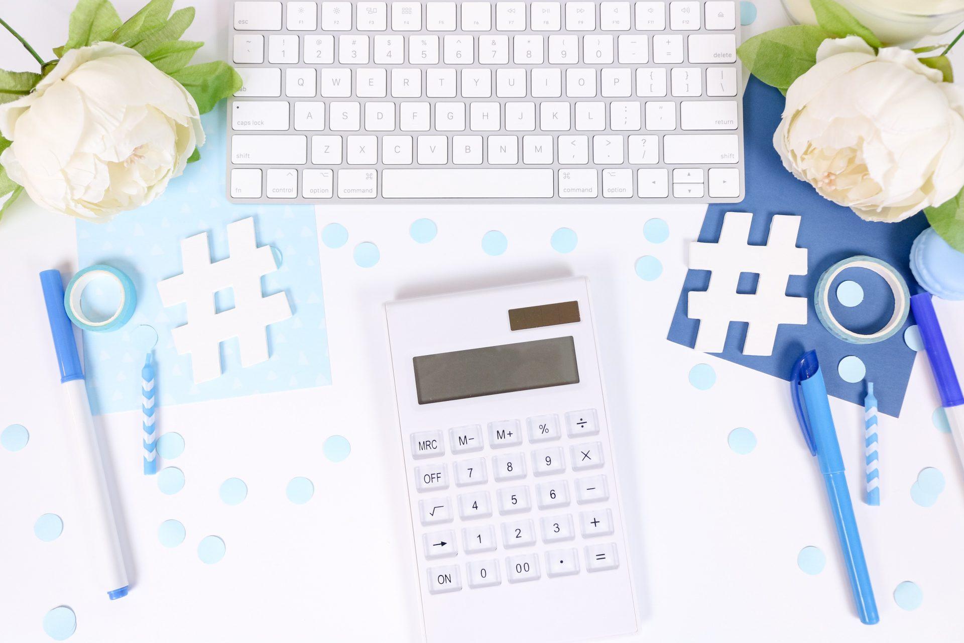 hashtag symbols near computer and calculator