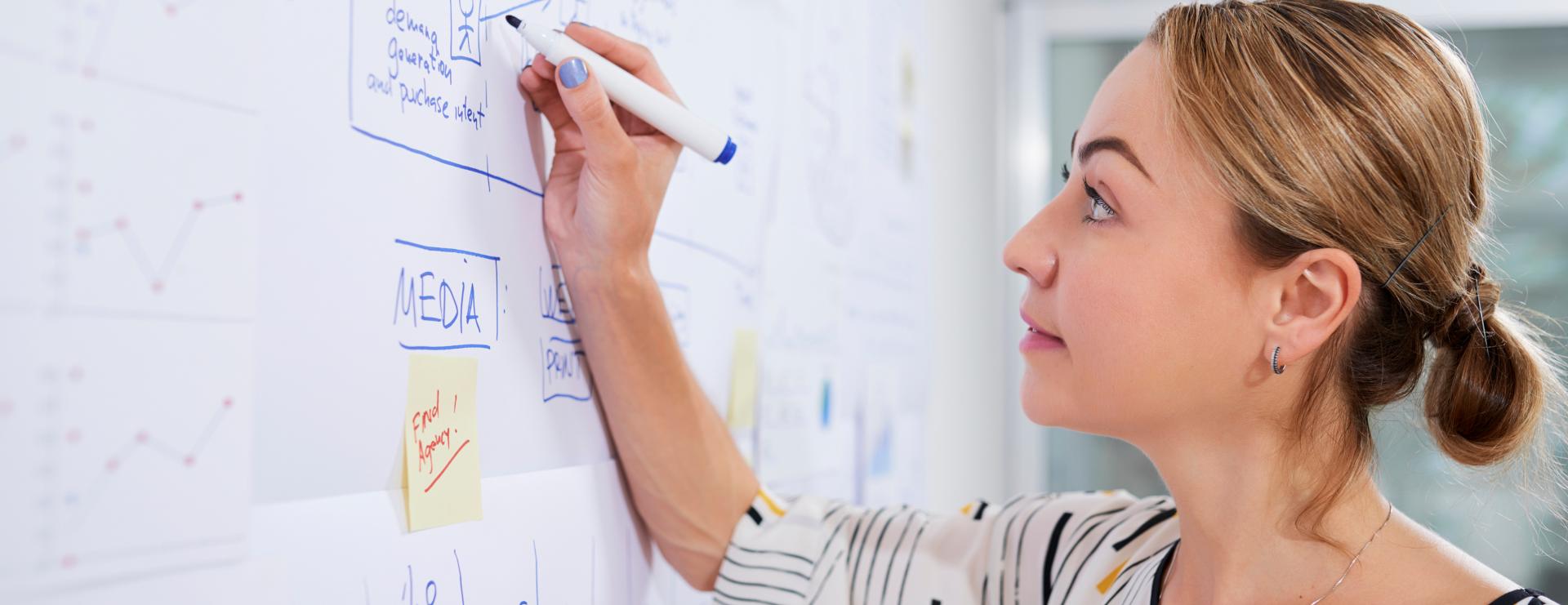 Marketing Strategist using whiteboard - concept representing digital marketing strategy